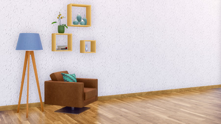 Modern minimalist living room interior design with brown leather armchair, floor lamp and simple shelves on empty white wall background with copy space. 3D illustration from my own 3D rendering file.