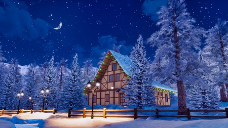 Dreamlike winter landscape with cozy snowbound half-timbered rural house among snow covered fir trees high in alpine mountains at serene starry night.
