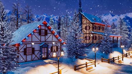Cozy snowbound alpine township high in mountains with illuminated half-timbered rural houses at magical winter night during snowfall.