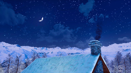 Snow covered roof and smoking chimney of rural house high in alpine mountains at peaceful winter night with half moon in the starry sky. Foto de archivo - 114334788