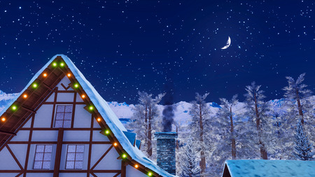 Close-up of snow covered roof and smoking chimney of illuminated half-timbered rural house high in mountains at winter night with half moon in starry sky.