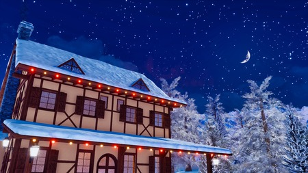 Snowbound half-timbered european rural house illuminated by christmas lights high in snowy mountains at serene winter night with crescent in starry sky.