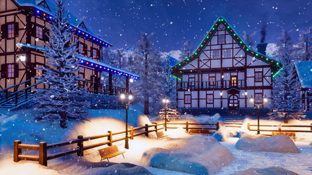 Cozy alpine mountain township with illuminated half-timbered houses and snow covered square with street lights at snowfall winter night.