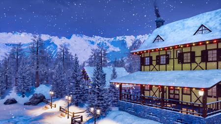 Traditional european half-timbered rural house illuminated by christmas lights high in snowy alpine mountains at snowfall winter night.
