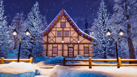 Peaceful winter scenery with cozy illuminated half-timbered rural house among snow covered fir trees at wintry night during snowfall.