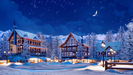 Cozy snowbound european township among snowy alpine mountains with illuminated half-timbered houses at calm winter night with half moon in starry sky. Foto de archivo - 114334813