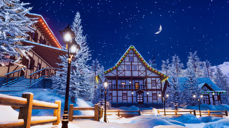 Cozy snowbound european town among alpine mountains with traditional half-timbered houses illuminated by christmas lights and street lamps at winter night. Imagens