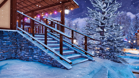Snow covered steps on entrance to half-timbered rural house illuminated by christmas lights in snowbound alpine mountain village at snowfall winter night. Foto de archivo - 114334817
