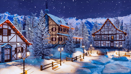 Cozy snow covered alpine mountain town with traditional half-timbered rural houses and christmas lights at winter night during snowfall.
