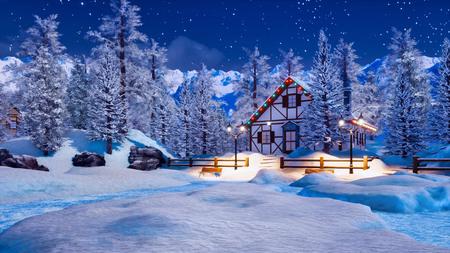 Eingeschneites, beleuchtetes Fachwerkhaus unter schneebedeckten Tannenbäumen hoch in den Alpen in der sternenklaren Winternacht. Standard-Bild