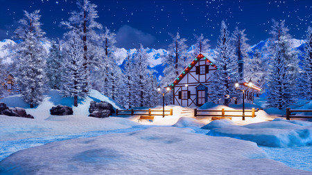 Snowbound illuminated half-timbered rural house among snow covered fir trees high in alpine mountains at starry winter night.