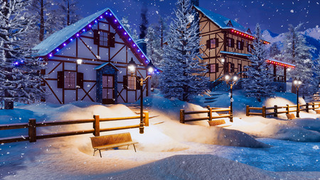 Cozy snowbound alpine village high in mountains with half-timbered rural houses and christmas lights at winter night during snowfall.