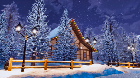 Dreamlike winter landscape with cozy snowbound half-timbered rural house among snow covered fir trees high in alpine mountains at calm wintry night.