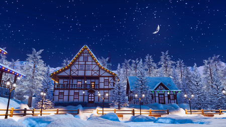 Dreamlike winter scenery with cozy half-timbered rural houses among snow covered fir trees in snowbound alpine mountain village at serene starry night.
