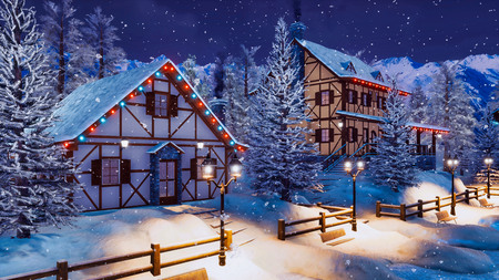 Cozy snow covered alpine town high in snowy mountains with illuminated half-timbered houses at magical winter night during snowfall.