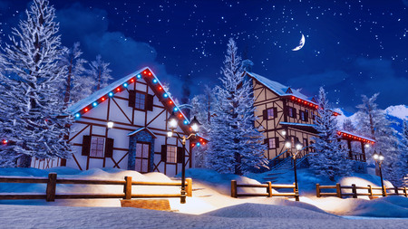 Cozy snow covered alpine town high in snowy mountains with illuminated half-timbered houses at magical winter night with half moon in starry sky.