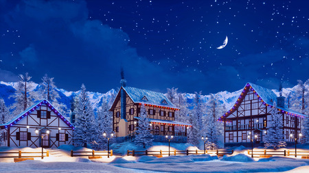 Snowbound european town among alpine mountains with half-timbered houses illuminated by christmas lights at winter night with crescent in starry sky. Foto de archivo - 114334828