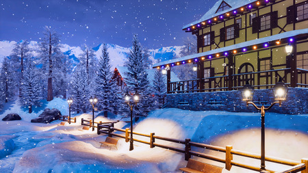 Mountain ski resort in highland alpine village with snow covered illuminated half-timbered house at winter night during snowfall. Imagens