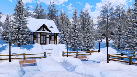 Cozy snowbound half-timbered alpine rural house among snow covered fir trees high in snowy mountains at frosty winter day.