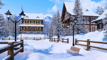 Cozy snow covered european township high in snowy alpine mountains with traditional half-timbered rural houses at clear winter day.