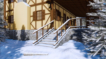 Snow covered steps on entrance to traditional european half-timbered rural house in alpine village at frosty winter day.
