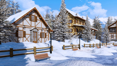 Cozy snow covered alpine village high in snowy mountains with traditional european half-timbered houses at serene winter day. Imagens - 114396523