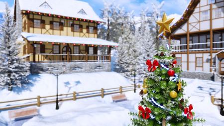 Top part of outdoor Christmas tree decorated by golden star and shiny baubles with defocused snow covered rural landscape on background at winter day. Imagens - 114396520