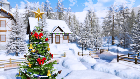 Top of outdoors Christmas tree decorated by golden star and shiny baubles with blurred snow covered rural landscape on background at clear winter day.