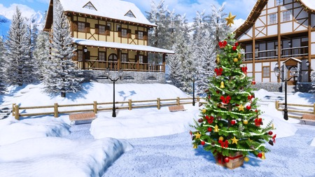 Outdoor decorated Christmas tree on square of snow covered alpine mountain village with traditional european half-timbered houses at clear winter day. Imagens