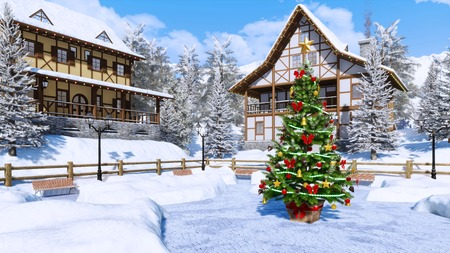 Outdoor decorated Christmas tree on square of cozy snowbound alpine mountain township with half-timbered houses at frosty winter day. Imagens - 114396524