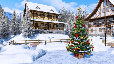 Outdoor decorated Christmas tree on snow covered square of cozy alpine mountain town with half-timbered houses at sunny winter day.