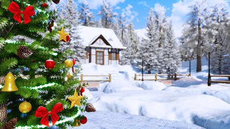Close-up of outdoor Christmas tree decorated by lights garland and shiny baubles against defocused snow covered alpine village on background at winter day. Imagens - 114396526