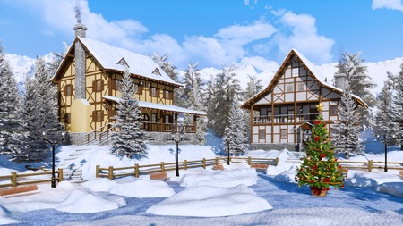 Outdoor decorated Christmas tree on snow covered square of cozy alpine mountain town with half-timbered houses at frosty winter day. Foto de archivo - 114395479