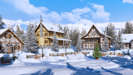 Outdoors decorated Christmas tree on square of snowbound alpine mountain village with traditional european half-timbered houses at frosty winter day.