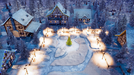 Aerial view of cozy snow covered european village with half-timbered houses and decorated Christmas tree on snowbound square at snowy winter night.