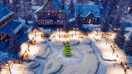 Top down view of snow covered european village high in mountains with half-timbered houses and decorated Christmas tree on square at snowfall winter night.
