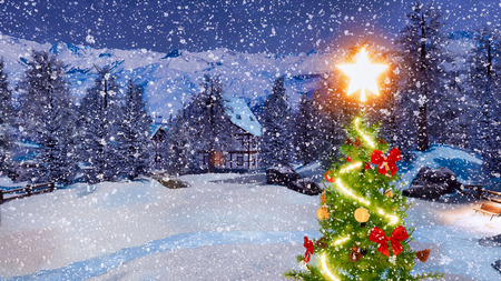 Top of outdoor Christmas tree decorated by luminous star and garland lights with blurred snow covered rural landscape on background at snowfall winter night.