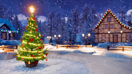 Outdoor Christmas tree decorated by luminous star and lights garland with defocused alpine mountain village on background at snowfall winter night. Imagens