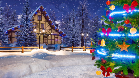 Close up of outdoor Christmas tree decorated by lights garland and shiny baubles and snow covered rural house on background at snowy winter night. Imagens