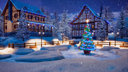 Magical Christmas night in cozy alpine village high in snowy mountains with half-timbered houses and illuminated Xmas tree on snowbound square at snowfall. Foto de archivo - 114395758