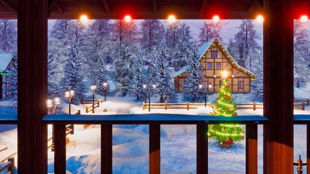 Magical Christmas night in snow covered european village with illuminated half-timbered house and decorated Xmas tree on snowbound square.