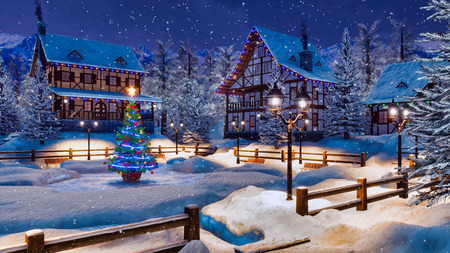 Peaceful winter scenery - snow covered alpine village high in mountains with illuminated half-timbered houses and decorated Christmas tree at snowfall night. Imagens