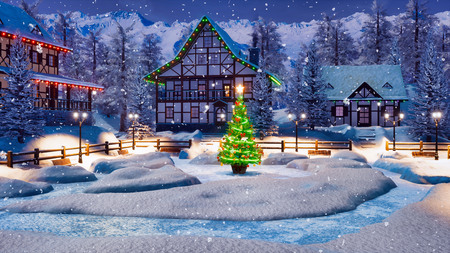 Snowbound alpine village among snowy mountains with illuminated half-timbered houses and decorated Christmas tree at winter night during snowfall. Foto de archivo - 114395765