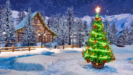Albero di Natale all'aperto decorato da una ghirlanda di luci contro un'accogliente casa rurale alpina e abeti innevati sullo sfondo durante la notte invernale di nevicate. Archivio Fotografico