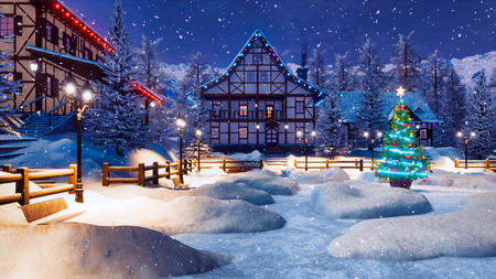 Outdoor decorated Christmas tree on snowbound square of illuminated alpine village high in snowy mountains at snowfall winter night.