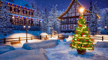 Outdoor Christmas tree decorated by Xmas lights garland on empty snowbound square of cozy alpine mountain township at snowy winter night. Imagens