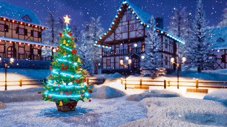 Outdoor Christmas tree decorated by luminous star and Xmas lights garland with defocused rural landscape on background at snowfall winter night.
