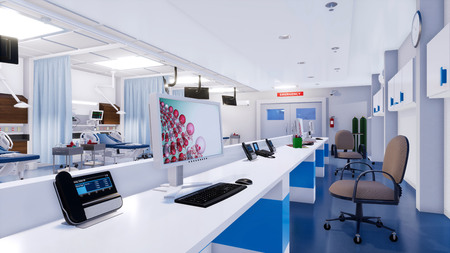 Close-up of empty nurses station with computer screen and communications equipment in emergency room of modern hospital. With no people 3D illustration on health care theme from my 3D rendering file. Imagens