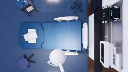 Top down view of empty hospital bed and various first aid medical equipment in emergency room of modern clinic. With no people 3D illustration on health care theme from my own 3D rendering file.