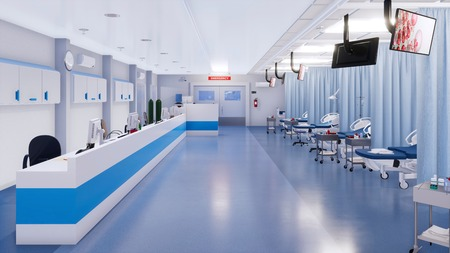 Interior of empty emergency room in modern clinic with hospital beds, nurses station and various medical equipment. With no people 3D illustration on health care theme from my own 3D rendering file.